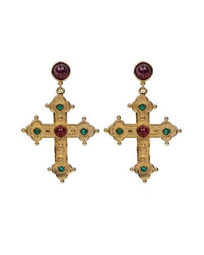 Multicolor Cross Dangle Earrings