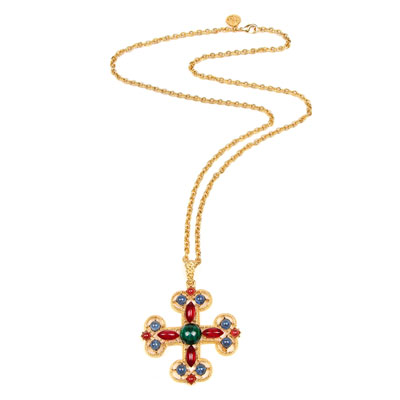 Multicolor Cross Pendant Necklace