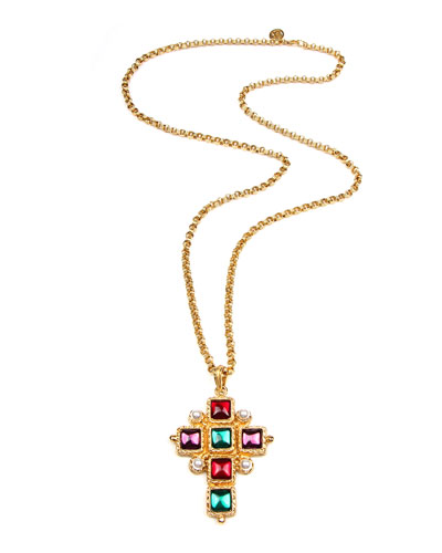 Cross Pendant Necklace w/ Square Stones