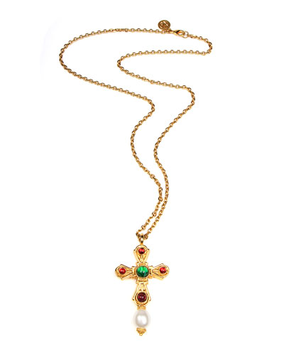 Cross Pendant Necklace w/ Glass Stones