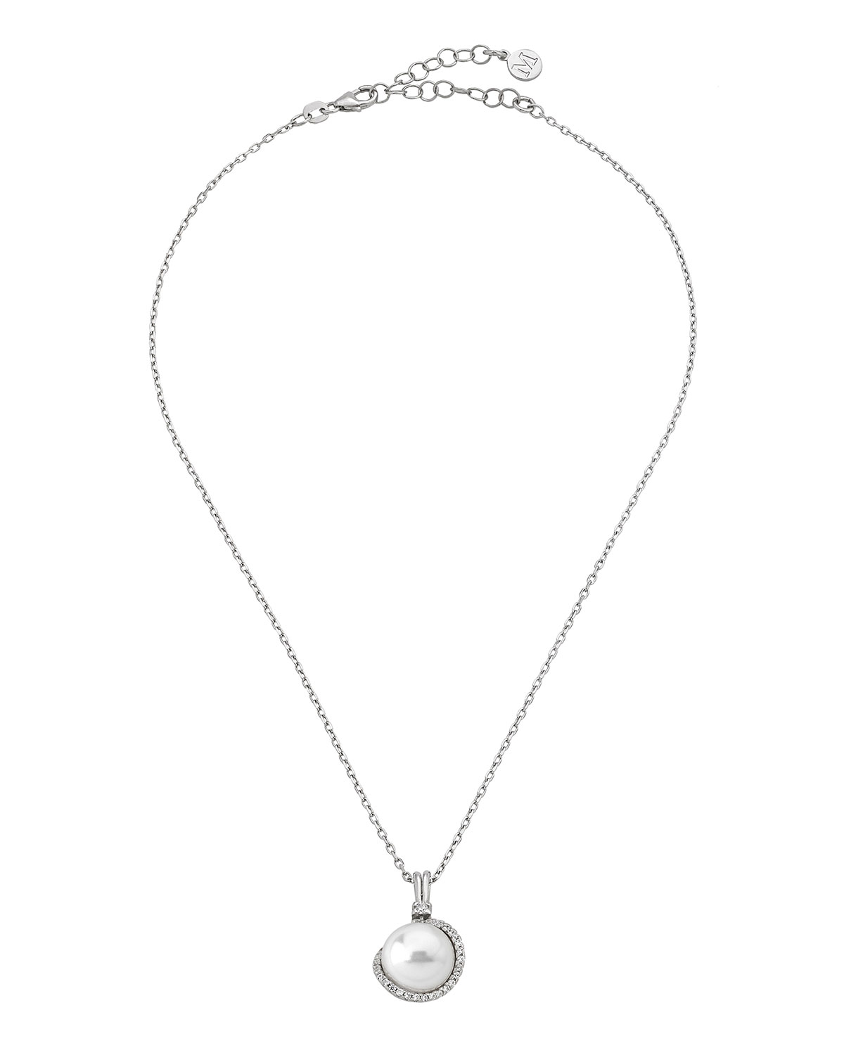 """MAJORICA Sterling Silver Cubic Zirconia & Imitation Pearl Pendant Necklace, 15"""" + 2"""" Extender in White"""
