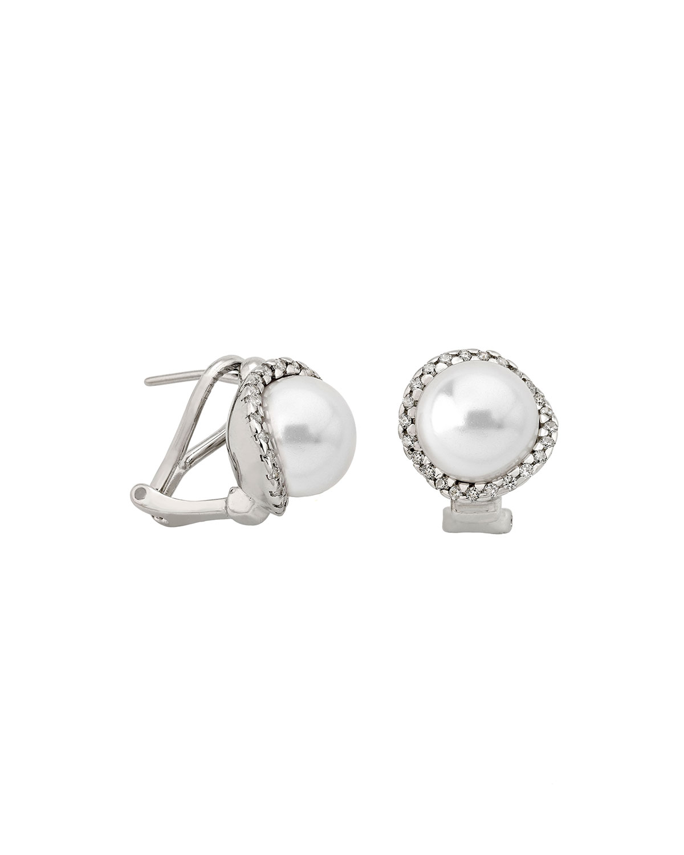 MAJORICA Sterling Silver Cubic Zirconia & Imitation Pearl Stud Earrings in White