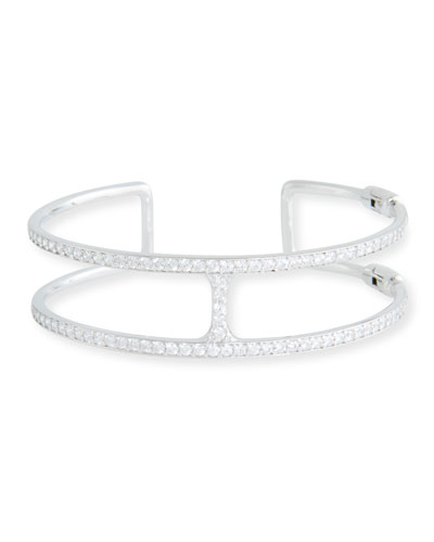 Open Square Cubic Zirconia Cuff Bracelet