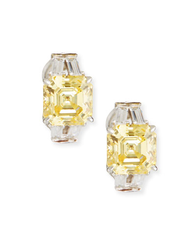 Yellow & Clear Cubic Zirconia Earrings