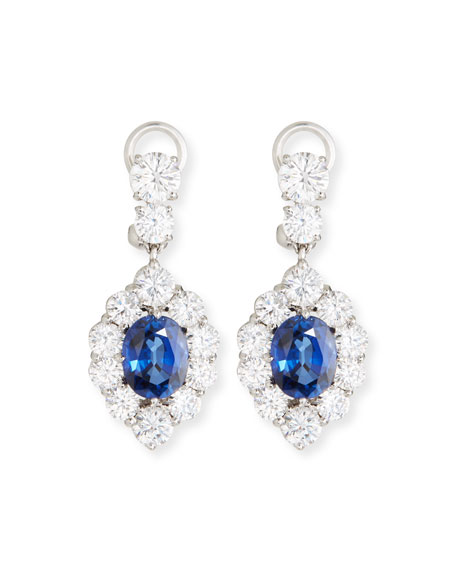 Fantasia by DeSerio Synthetic Sapphire Oval Drop Earrings