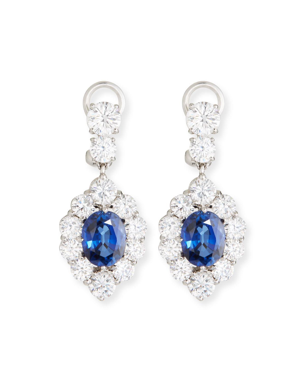 Synthetic Sapphire Oval Drop Earrings