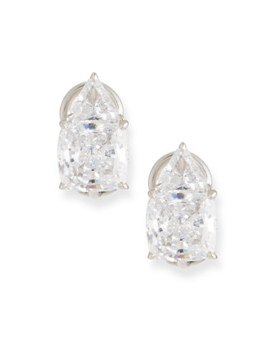 Trillion & Cushion Cubic Zirconia Earrings