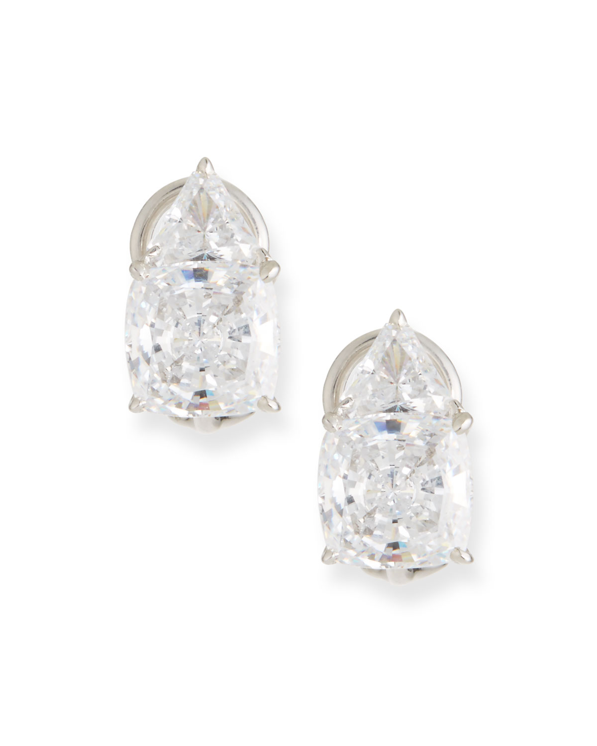 FANTASIA BY DESERIO Trillion & Cushion Cubic Zirconia Earrings
