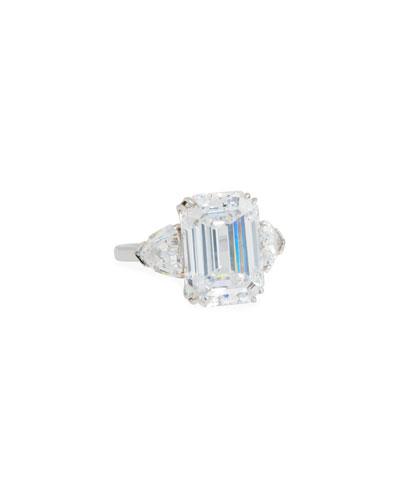 14k White Gold Triple Cubic Zirconia Ring