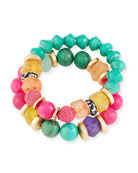 Akola Rainbow Bead Bracelets, Set of 2