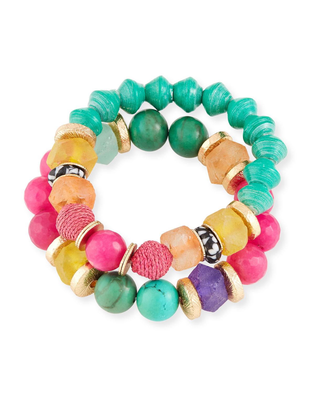 AKOLA Rainbow Bead Bracelets, Set Of 2 in Multi