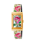 Gucci 21mm G-Frame Blooms Leather Watch, Gold/White