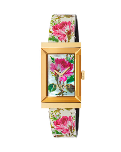 21mm G-Frame Blooms Leather Watch, Gold/White