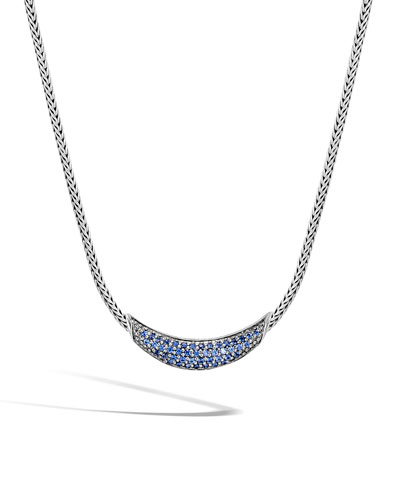 Classic Chain Arch Necklace w/ Black Sapphires & Spinel