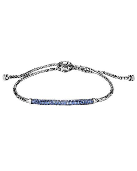 John Hardy Classic Chain Pull-Through Bracelet w/ Blue Sapphire