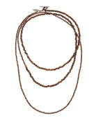 Brunello Cucinelli Mixed Wood and Hematite Long Wrap