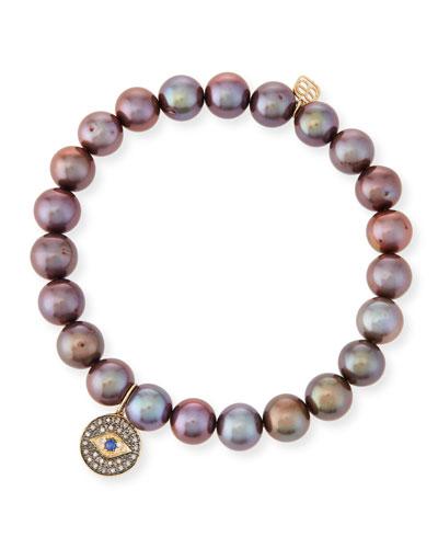 8mm Pearl & Diamond Evil Eye Bracelet