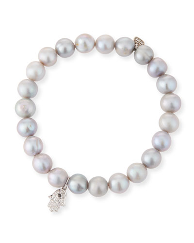 8mm Pearl & Diamond Hamsa Bracelet