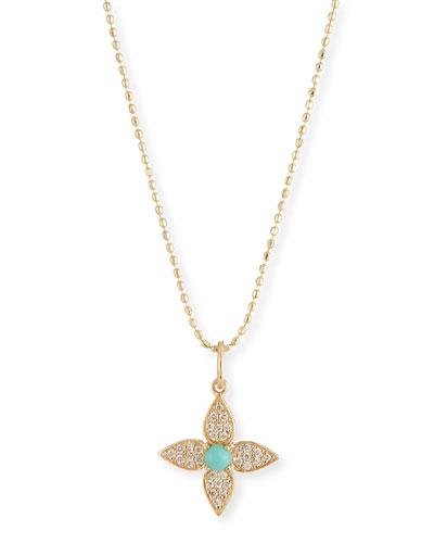 14k Diamond & Turquoise Paisley Flower Necklace