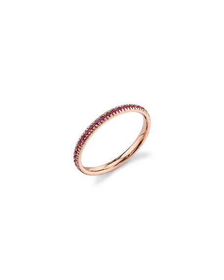 Sydney Evan 14k Rose Gold Band Ring with Rubies