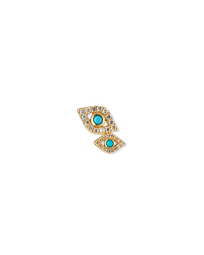 14k Gold Double Evil Eye Stud Earring (Single)
