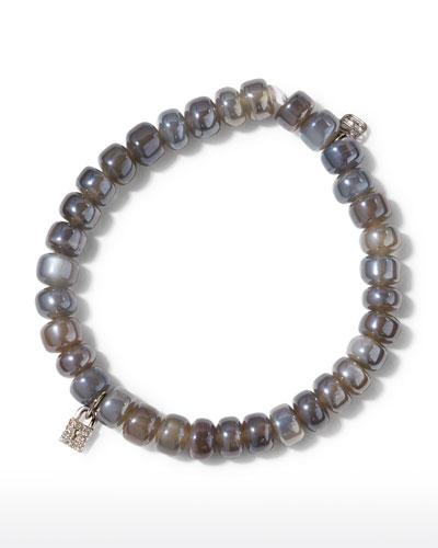 Gray Moonstone & Diamond Lock Bracelet