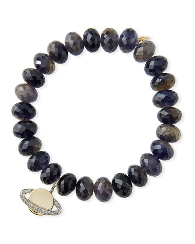 Iolite & Diamond Saturn Planet Bracelet