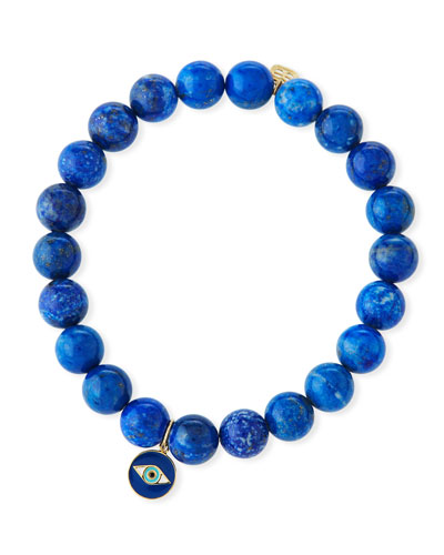 Lapis & Evil Eye Medallion Bracelet