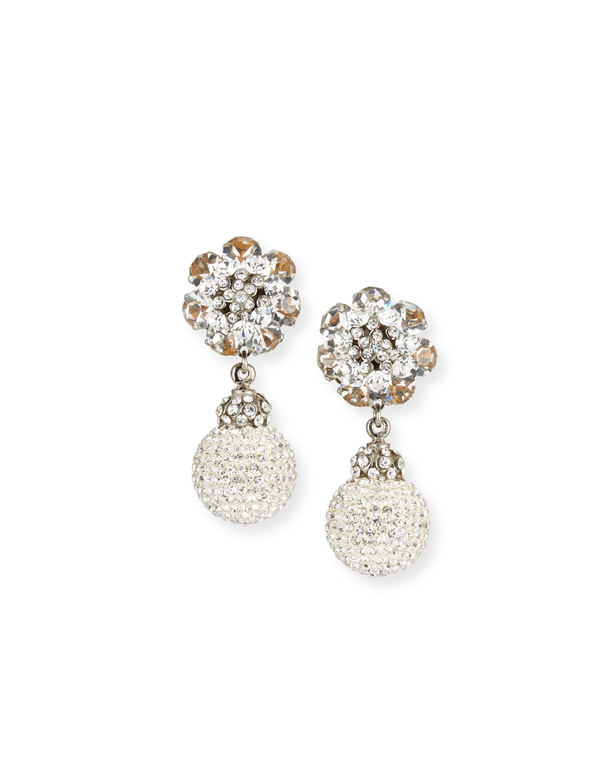 JOSE & MARIA BARRERA Crystal Ball Clip-On Earrings