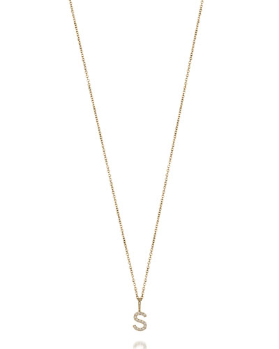 Mini Amelia Diamond Initial Pendant Necklace