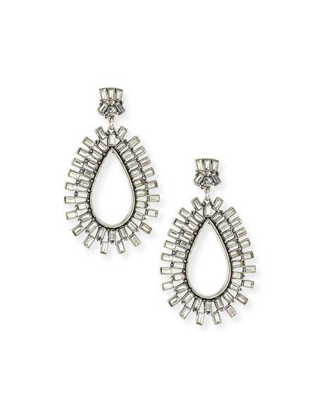 Sequin Baguette Burst Crystal Drop Earrings