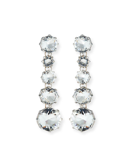 Sequin Clear Crystal Drop Earrings