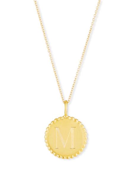 Sarah Chloe Madi Engraved Initial Pendant Necklace