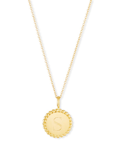 Madi Small Engraved Initial Pendant Necklace