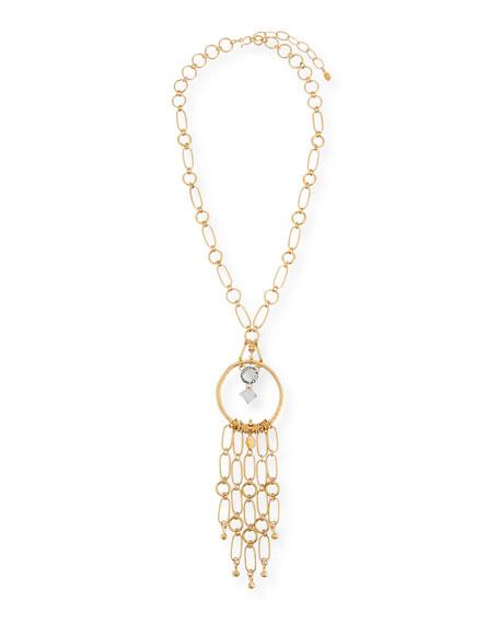 Sequin Circle & Dangle Pendant Necklace
