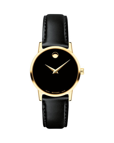 28mm Museum Classic Leather Watch, Gold/Black