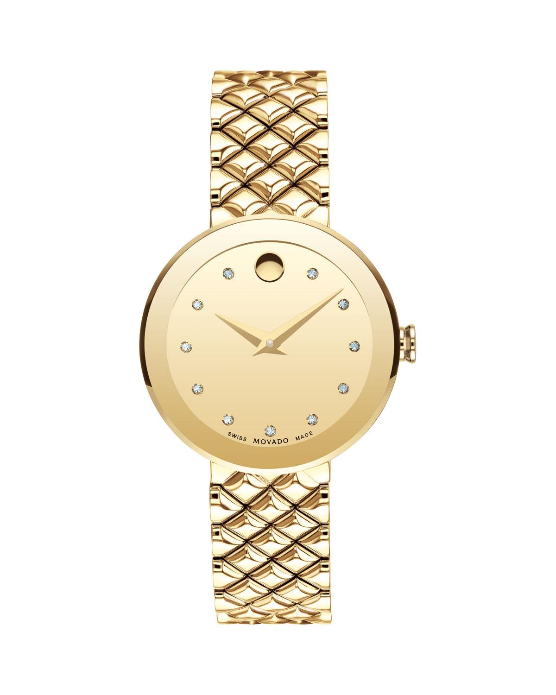 Movado 30MM SAPPHIRE DIAMOND BRACELET WATCH, GOLD