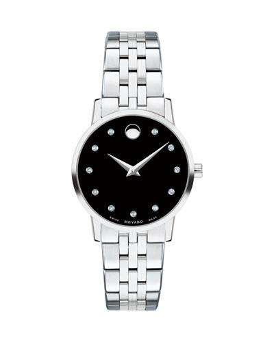 28mm Museum Classic Diamond Watch, Black/Silver