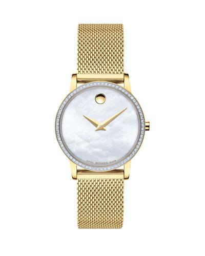 28mm Museum Classic Diamond Mesh Watch, Gold