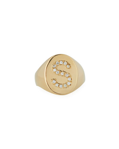 14k Diamond Initial Signet Ring