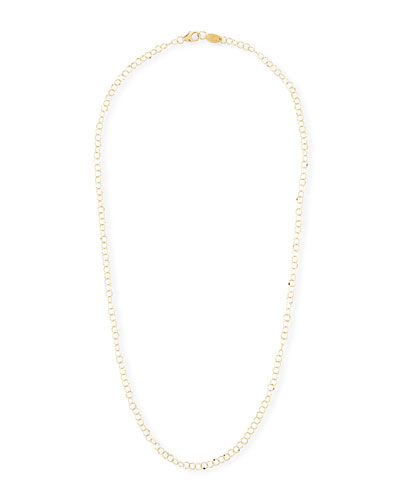 18k Gold Hammered Circle Chain Necklace, 18