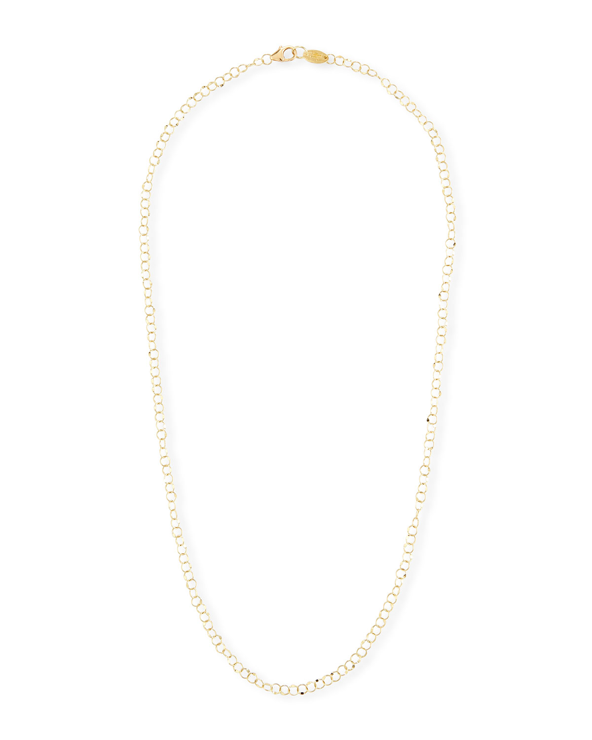 18k Gold Hammered Circle Chain Necklace