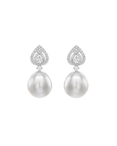 Bridal 18k White Gold, Diamond & Pearl Spade Earrings