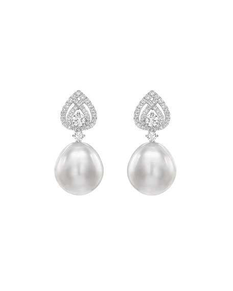 Kiki McDonough Bridal 18k White Gold, Diamond & Pearl Spade Earrings