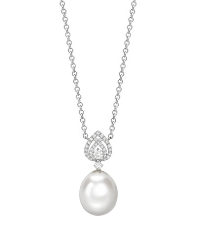 Bridal 18k White Gold, Diamond & Pearl Pendant Necklace