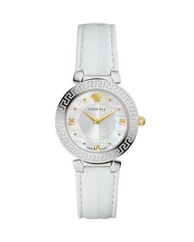 35mm Daphnis Leather Greca Watch, White