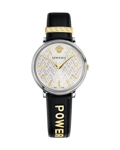 38mm Power Manifesto Leather Watch, Two-Tone