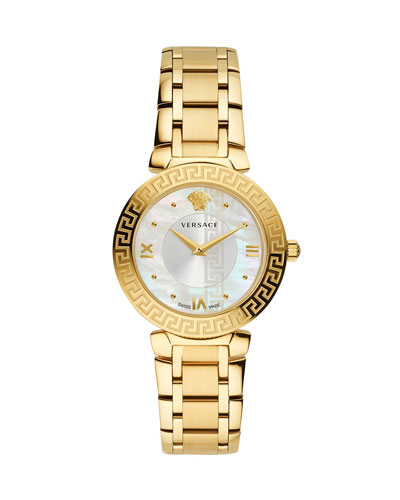 35mm Daphnis Bracelet Greca Watch, Gold/White