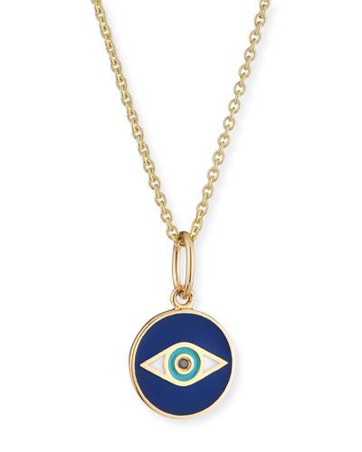 14k Black Diamond & Enamel Evil Eye Pendant Necklace