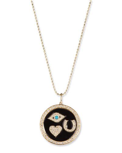14k Gold Diamond & Enamel Luck Medallion Necklace